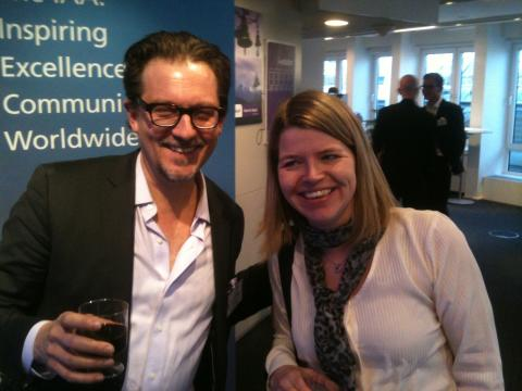Micronic Mydata's Veronica Wänman and David Gray at last night's IAA seminar-mingle.