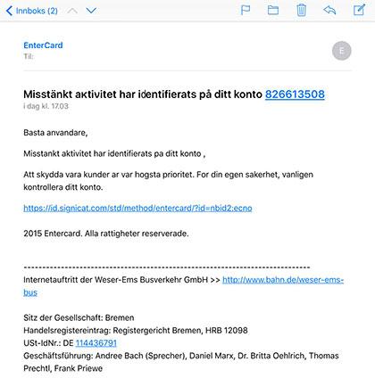 """""""Exempel på e-posst meddelande med nätfiske"""