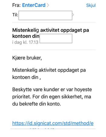 """Eksempel på falsk e-mail"