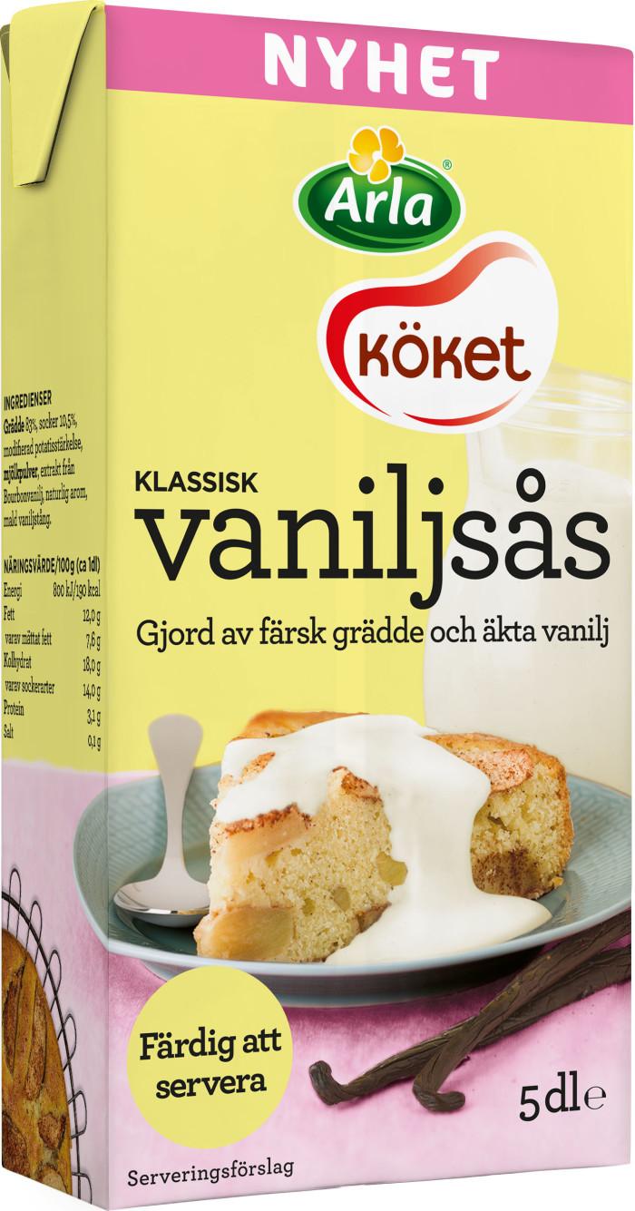 Den klassiska dessertsåsen med de finaste råvarorna: Äkta vanilj i Arla Kökets nya vaniljsåser