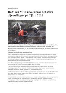 HaV och MSB utvärderar det stora oljeutsläppet på Tjörn 2011