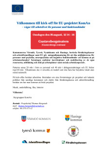 Välkommen till kick-off för EU-projektet KomAn 26/8 14.00 i Gustavsbergsteatern
