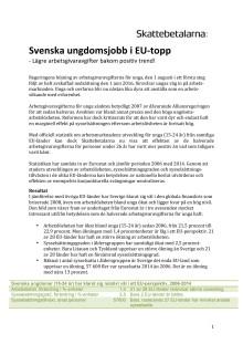 Svenska ungdomsjobb i EU-topp – Lägre arbetsgivaravgifter bakom positiv trend