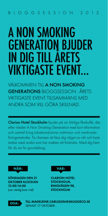 A Non Smoking Generation bjuder in till Bloggsession