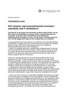 NCC lanserar unik leverantörsportal