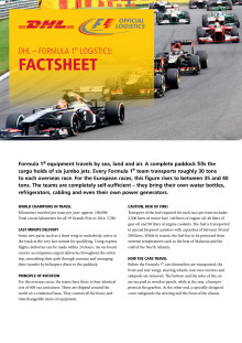 DHL — Formula 1® fact sheet