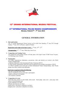 invitasjon til Internasjonal Wushu festival i Polen 5.-7. juni