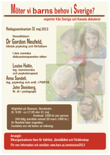 Seminarium: Möter vi barns behov i Sverige? - experter från Sverige och Kanada diskuterar