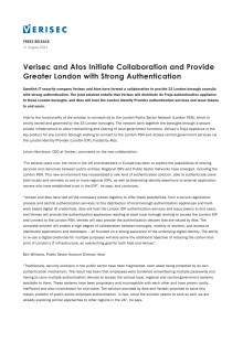 Verisec and Atos Initiate Collaboration and Provide Greater London with Strong Authentication