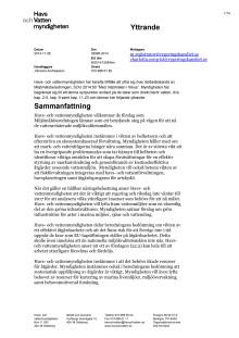 """HaV:s yttrande över delbetänkande SOU 2014:50 """"Med miljömålen i fokus"""""""