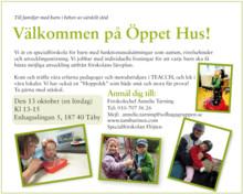 Välkommen på Öppet Hus till Specialförskolan Flöjten i Täby nu på lördag den 13 okt!