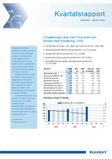 Kvartalsrapport Januari-Mars 2008