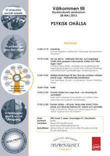Välkommen till seminarium om Psykisk Ohälsa 28 maj