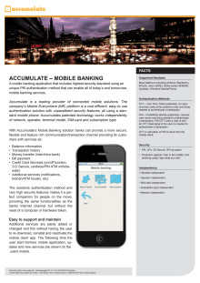 Accumulate - Mobile Banking, fact sheet
