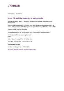 Vellykket plassering av obligasjonslån 20.10.2014