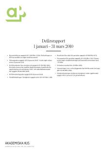 Delårsrapport 1 januari - 31 mars 2010