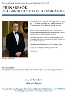 Prins Daniel besöker Gunnebo slott torsdag 17 mars