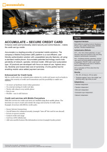 Accumulate - Secure Credit Card, fact sheet