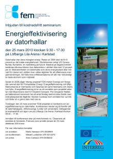 Inbjudan till seminarium om energieffektivisering av datorhallar