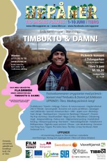 Dag för dag-program för folkfesten UPPåNER i Tibro och översikt över festivalområdet