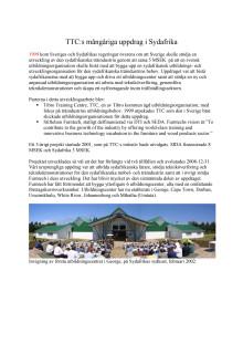 Presentation - TTC:s utbildnings- och utvecklingsuppdrag i Sydafrika