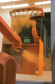 Miljöanpassat måleri vid Toyota Material Handlings fabrik i Mjölby