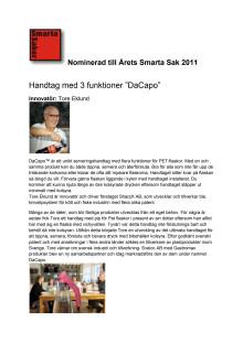 DaCapo och innovatören Tore Eklund nominerade till Årets Smarta Sak 2011
