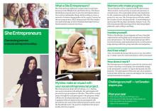 Broschyren om She Entrepreneurs SI:s nya program för kvinnor från Mellanöstern & Nordafrika