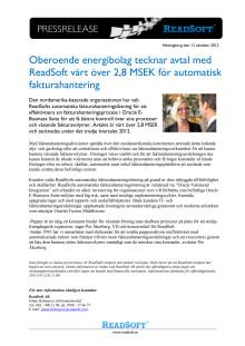 Oberoende energibolag tecknar avtal med ReadSoft