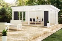 Nu lanserar Skånska Byggvaror fristående uterum som tar klivet ut i trädgården