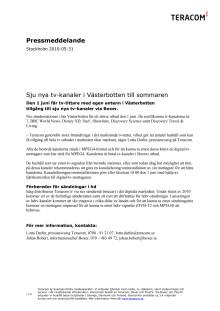 Sju nya tv-kanaler i Västerbotten till sommaren