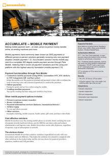 Accumulate - Mobile Payment, fact sheet