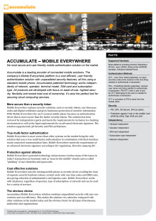 Accumulate - Mobile Authentication, fact sheet