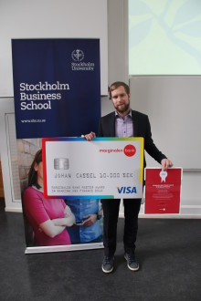"""Johan Cassel är årets mottagare av stipendiet """"Marginalen Bank Master Award in Banking and Finance"""""""