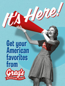 Gray's American Stores färgstarka hyllvippor syns nu ute i butikerna!