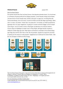 Produktblad Una Pasta Classica från Zeta