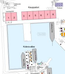 Kartta Silakkamarkkinoiden kahvilapaikoista