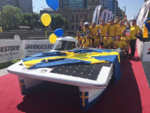 Innovative solar powered car in Australian student race