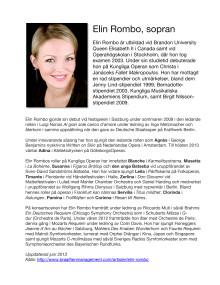 BIO Elin Rombo, sopran, i sommarkonsert på Drottningholms Slottsteater, 26-27 juli 2013