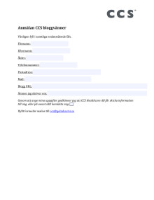 Anmälningsformulär CCS bloggvänner