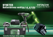 Många höstnyheter inom Hitachis sortiment för batterimaskiner