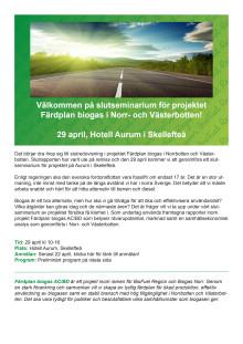 Inbjudan med preliminärt program, slutseminarium Färdplan biogas AC/BD