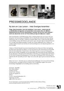Ny bok om Lisa Larson på Arena Bokförlag