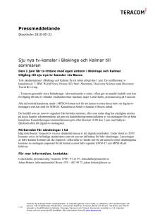 Sju nya tv-kanaler i Blekinge och Kalmar till sommaren
