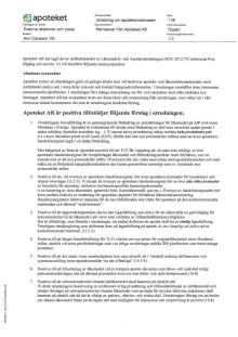 Apotekets remissvar på delbetänkande av Läkemedels- och Apoteksutredningen (SOU 2012:75)