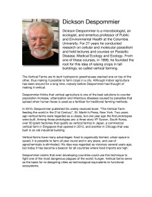 BIO of Dr. Dickson Despommier - speaker at the Urban Agriculture Summit 2013
