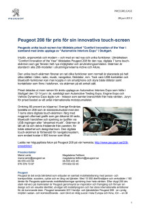 Peugeot 208 får pris för sin innovativa touch-screen