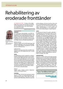 """Artikel i Tandläkartidningen """"Rehabilitering av eroderdae framtänder"""""""