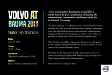 Inbjudan till Volvo Construction Equipments presskonferens på Bauma 2013