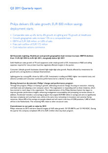 Philips Q3 2011 Quarterly Report